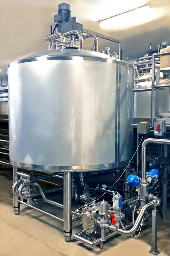 Dairy Cheese Maturation Vat with positive displacement transfer pump